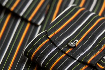 Black White Green Yellow and Orange Pinstripe Pocket