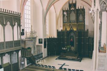 Black Wooden Church Altar
