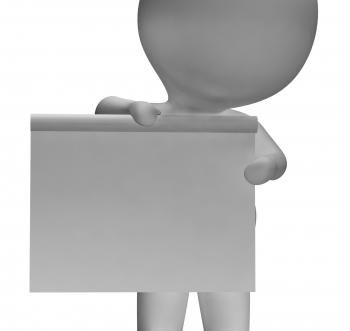 Blank White Board With Copyspace Including 3d Character