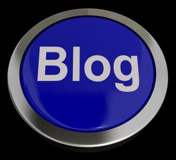 Blog Button In Blue For Blogger Or Blogging Website