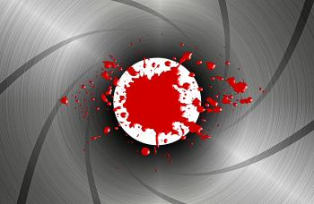 Blood spatter down the barrel of a gun - James Bond-style