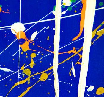 Blue and White Paint Splatter