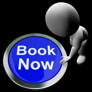 Blue Book Now Button For Hotel Or Flights Reservation