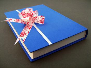 Blue book with bow