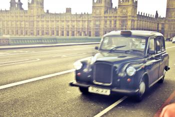 Blue Classic Car Near Westminster Palace