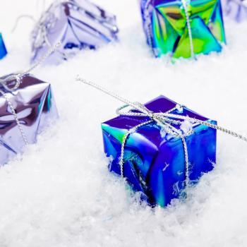 Blue Gift Box Christmas Decoration