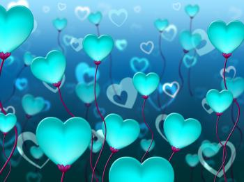 Blue Hearts Background Means Valentines Day And Backgrounds