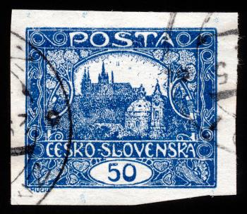 Blue Hradcany Castle Stamp