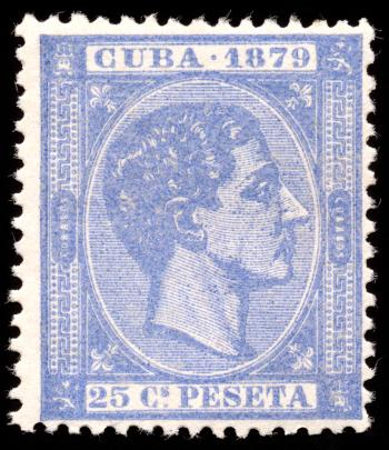 Blue King Alfonso XII Stamp