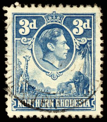 Blue King George VI Stamp