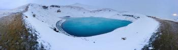 Blue Lake in the Middle of Snowfield