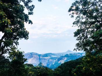 Blue Mountain Under Blue Skies