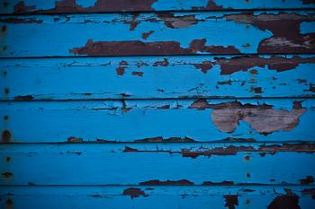Blue Peeled Paint on Wood Texture