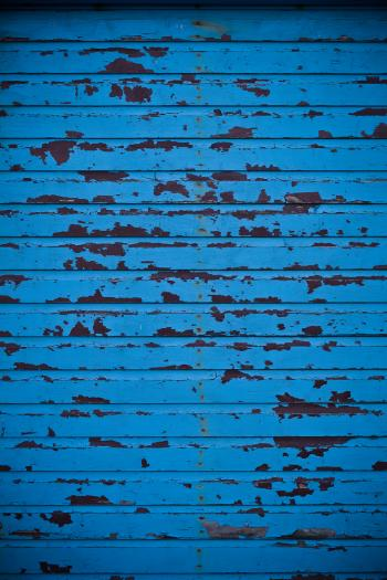 Blue Peeled Paint Wall