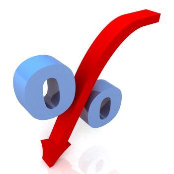 Blue Percentage Symbol Shows Reduced Price