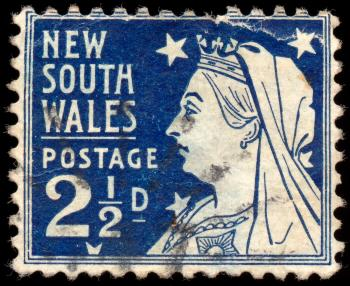 Blue Queen Victoria Stamp