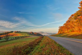 Blue Ridge Parkway - Golden Autumn Hour HDR