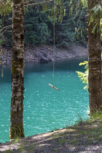Blue River Reservoir, Oregon, Swing Over Water