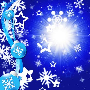 Blue Snowflakes Background Shows Bright Sun And Snowing
