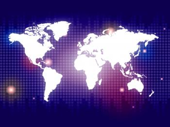 Blue World Shows Globalization Backdrop And Globe