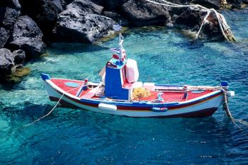 Boat on the Santorini Island