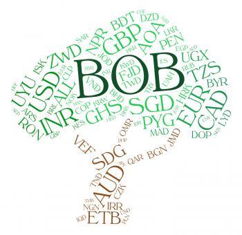 Bob Currency Represents Bolivia Boliviano And Bolivianos