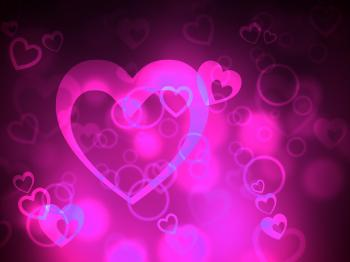 Bokeh Heart Represents Valentines Day And Backgrounds