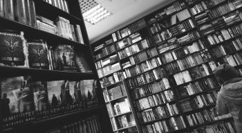 Books on Shelves in Library
