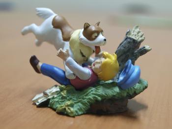 Boy and dog, macro toys