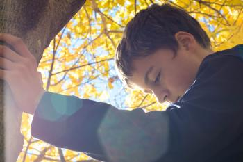 Boy Holding Tree Trunk Looking Down
