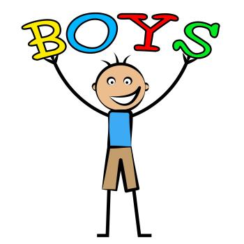 Boys Word Shows Son Youngsters And Kid