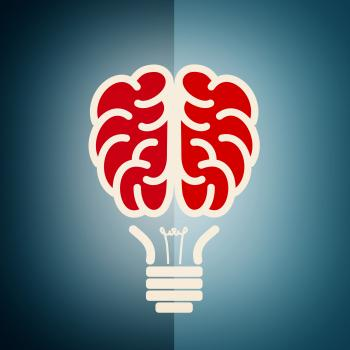 Brain as a lightbulb - Creative idea