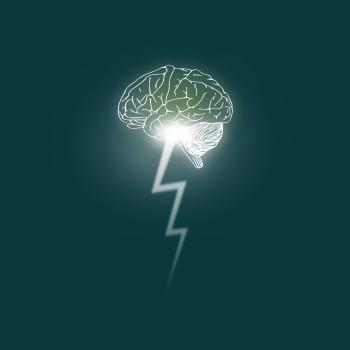 Brainstorming - Brain unleashes a lightning bolt