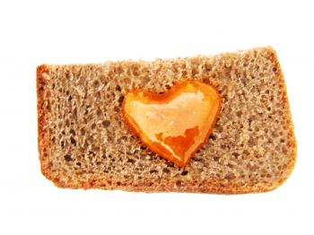 Bread with heart shaped honey
