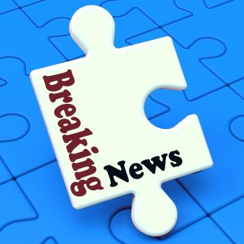 Breaking News Puzzle Shows Newsflash Broadcast Or Newscast