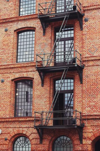 Brick building with stairs