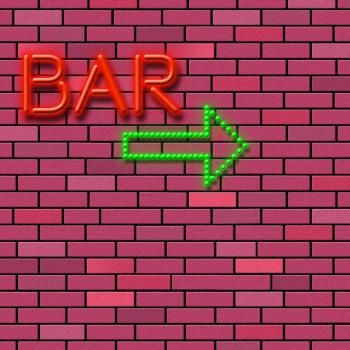 Brick Wall Indicates Traditional Pub And Alcohol
