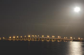 Bridge Over Water at Night