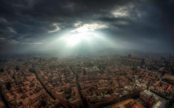 Bright Light Over City