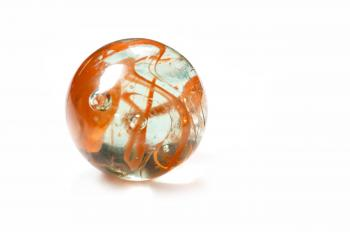 Brightly coloured glass marble