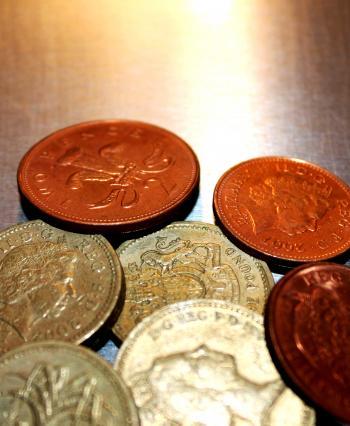 British pound coins closeup