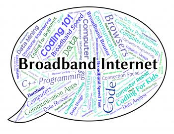 Broadband Internet Means World Wide Web And Computer