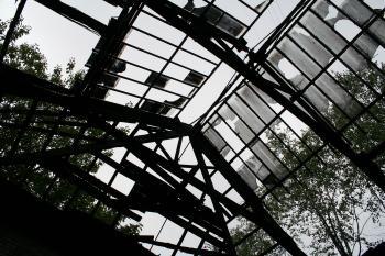 Broken roof made of glass
