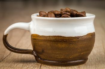 Brown and White Cup