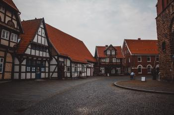 Brown and White Wooden Houses