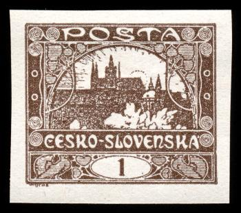 Brown Hradcany Castle Stamp