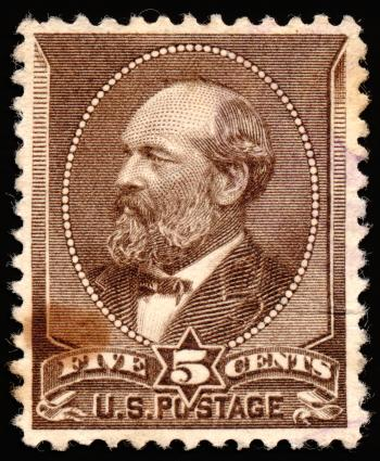 Brown James Garfield Stamp