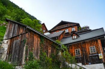 Brown Wooden House Near Mountain With Green Leaf Trees