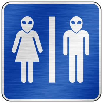 Brushed Metal Sign - Alien Toilet