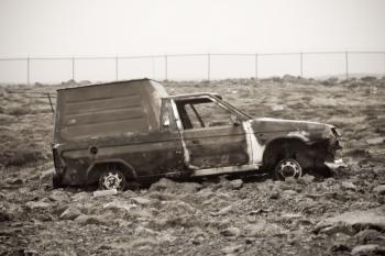 Burned mini van